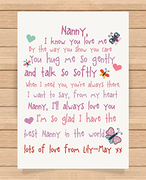 Personalised Presents Gifts For Nanny Grandma Granny From Grandson Grandaughter Birthday Mothers Day Christmas Xmas I