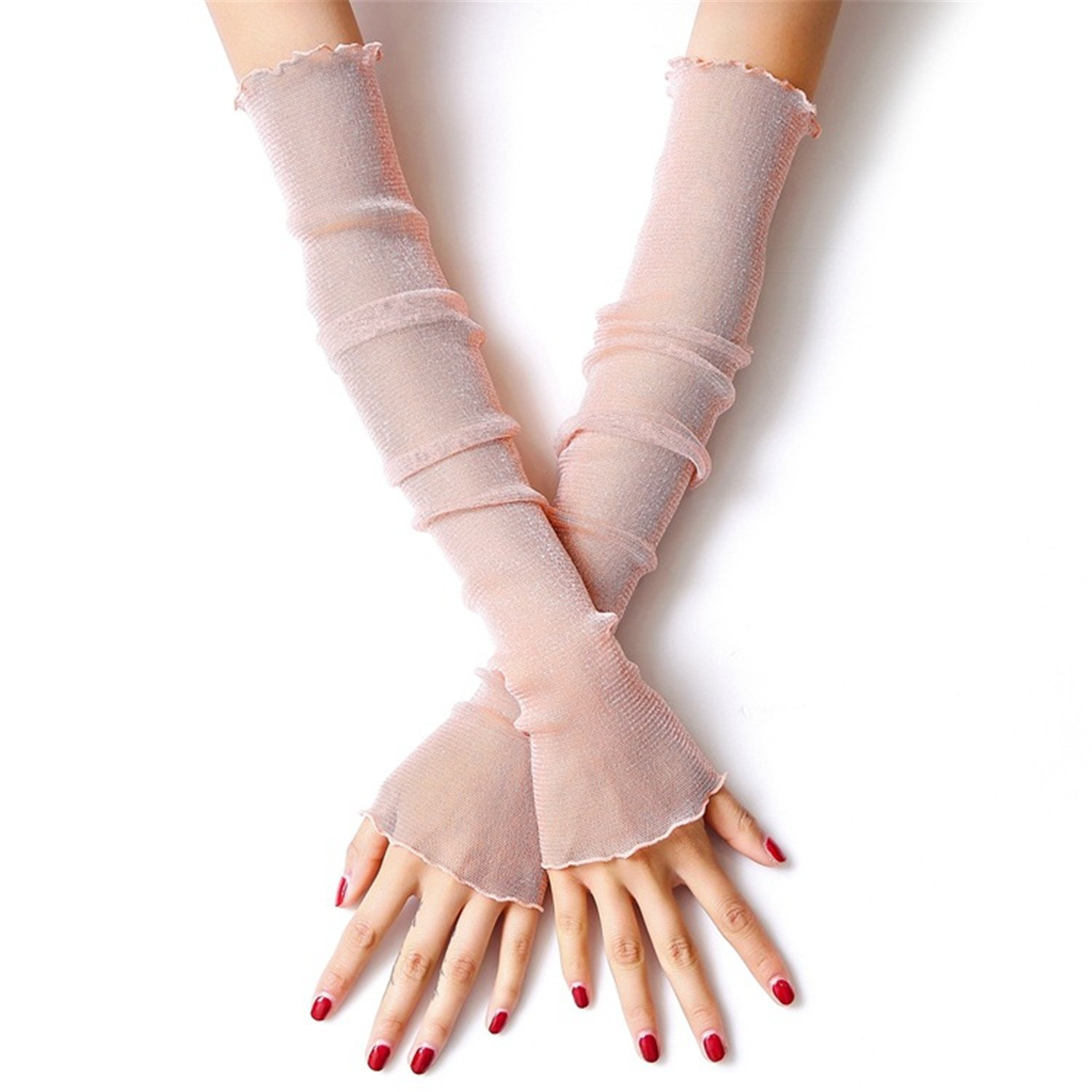 spyman Ice Silk Sleeve Nylon Sunscreen Cuff Glove Lace Sleeves Arms Summer Women's Bracers Female Mittens 3 One Size