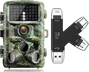 Trail Camera and SD Card Bundle Campark Trail Game Camera 16MP 1080P Night Vision Waterproof Hunting Scouting Cam for Wildlife 4 in 1 SD Card Reader Compatible with iPhone iPad Mac or Android