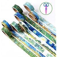 Paquete de 6decorativo de Washi Tape, wordmo DIY japonés Washi cinta adhesiva de carrocero para artes, manualidades, oficina, papel de regalo, Van Gogh (6 Pack)