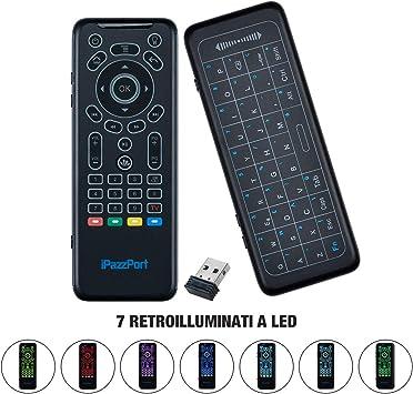 Lychee Teclado remoto inalámbrico 5 en 1 con botones de aprendizaje IR, panel táctil extragrande y diseño QWERTY para Android TV Box/portátil/todo en uno PC/proyector/HTPC/IPTV/reproductor multimedia/Smart TV: Amazon.es: Electrónica