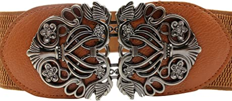 Voberry Women's Vintage Wide Elastic Stretch Metal Buckle Waist Belt Waistband