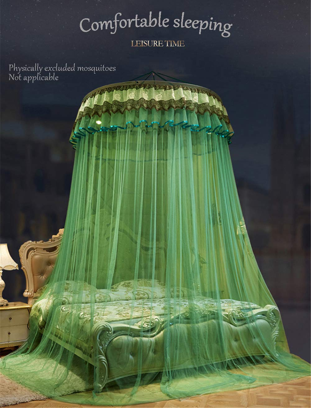 XDWN Mosquito Net Round Lace Dome Bed Canopy Netting Princess Fashion for King Queen Double Twin Size Bed,Brown by XDWN (Image #2)