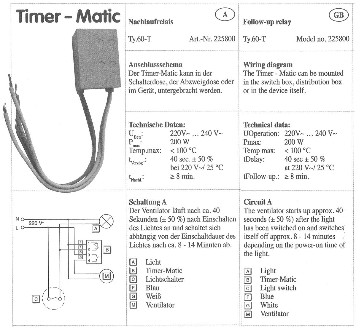 SiBliK TY.60-T Verzögerungsrelais Nachlaufrelais: Amazon.de: Elektronik