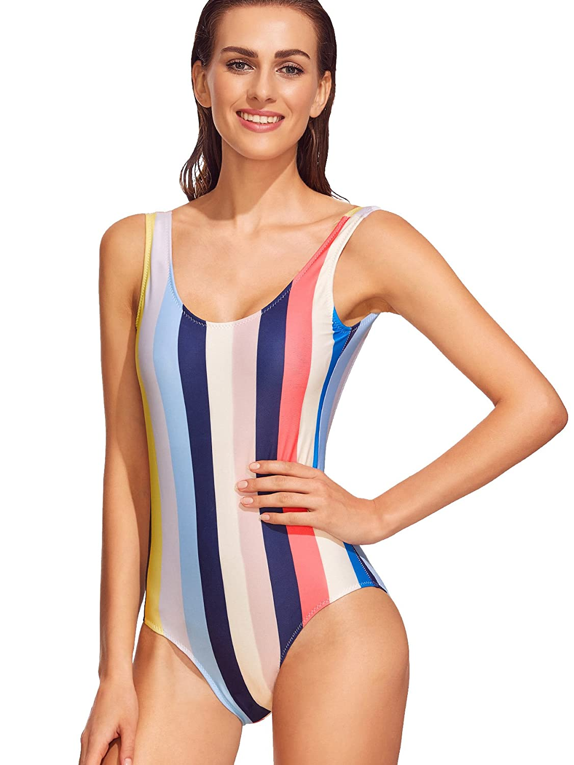 bf5b52c736 SweatyRocks Women s Sexy colorful Stripe High Cut Low Backless One Piece  Swimsuit at Amazon Women s Clothing store