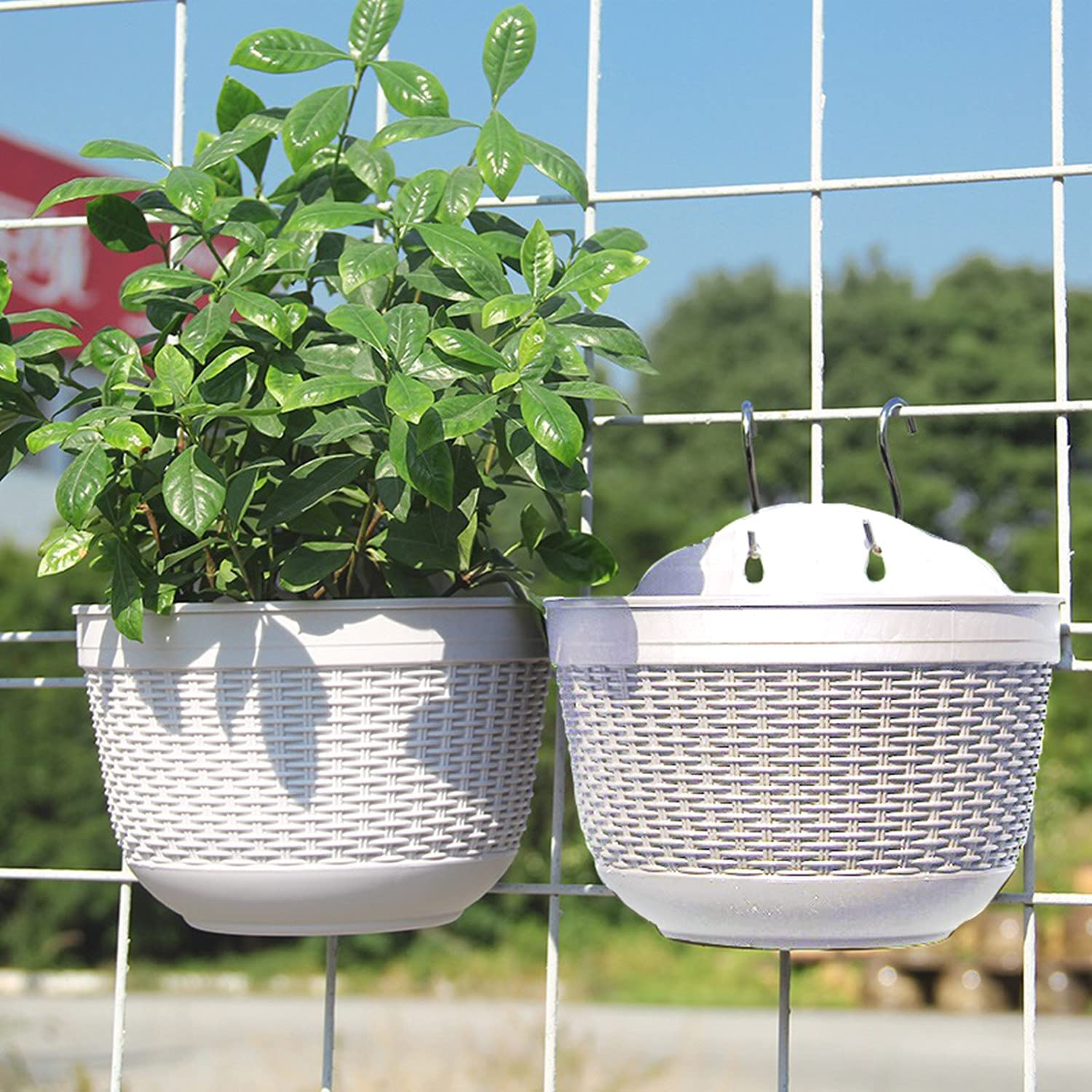 Homeleaf Wall and Railing Hanging Planters with S Hooks,Large Plastic Pots, Indoor and Outdoor Half Round Plant Holders for Fence, Balcony or Rails, Display Herb Gardens, Flowers or Plants 2PCS,White.