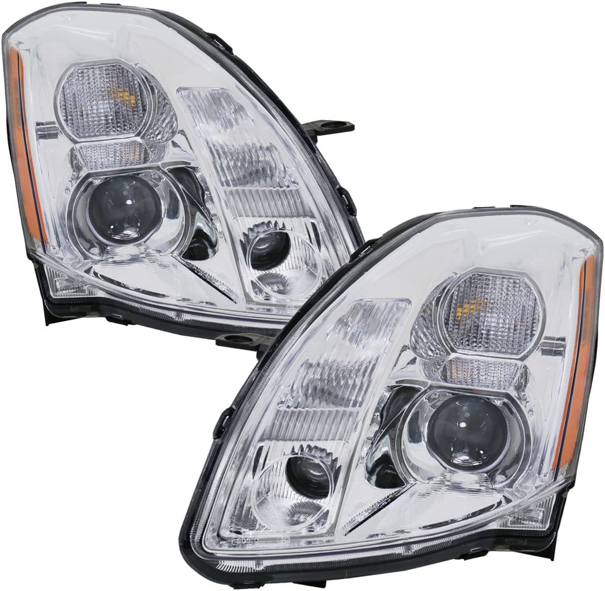 For 2004-2006 Nissan Maxima Jdm Headlights Projector Chrome Housing Amber Clear