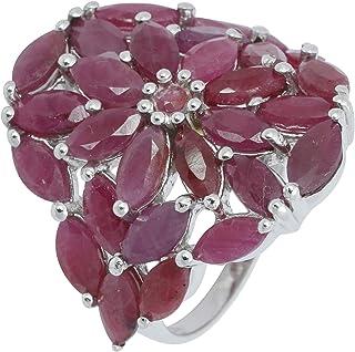 Banithani Argent 925 Ruby Gemstone pur les femmes Annulaire Charm Bijoux Fashion