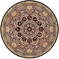 Printing Round Rug,Zodiac Decor,Micro Cosmos Universe Icon Eastern Lace Mandala Form with Signs on Grunge Back Mat Non-Slip Soft Entrance Mat Door Floor Rug Area Rug For Chair Living Room,Brown Tan