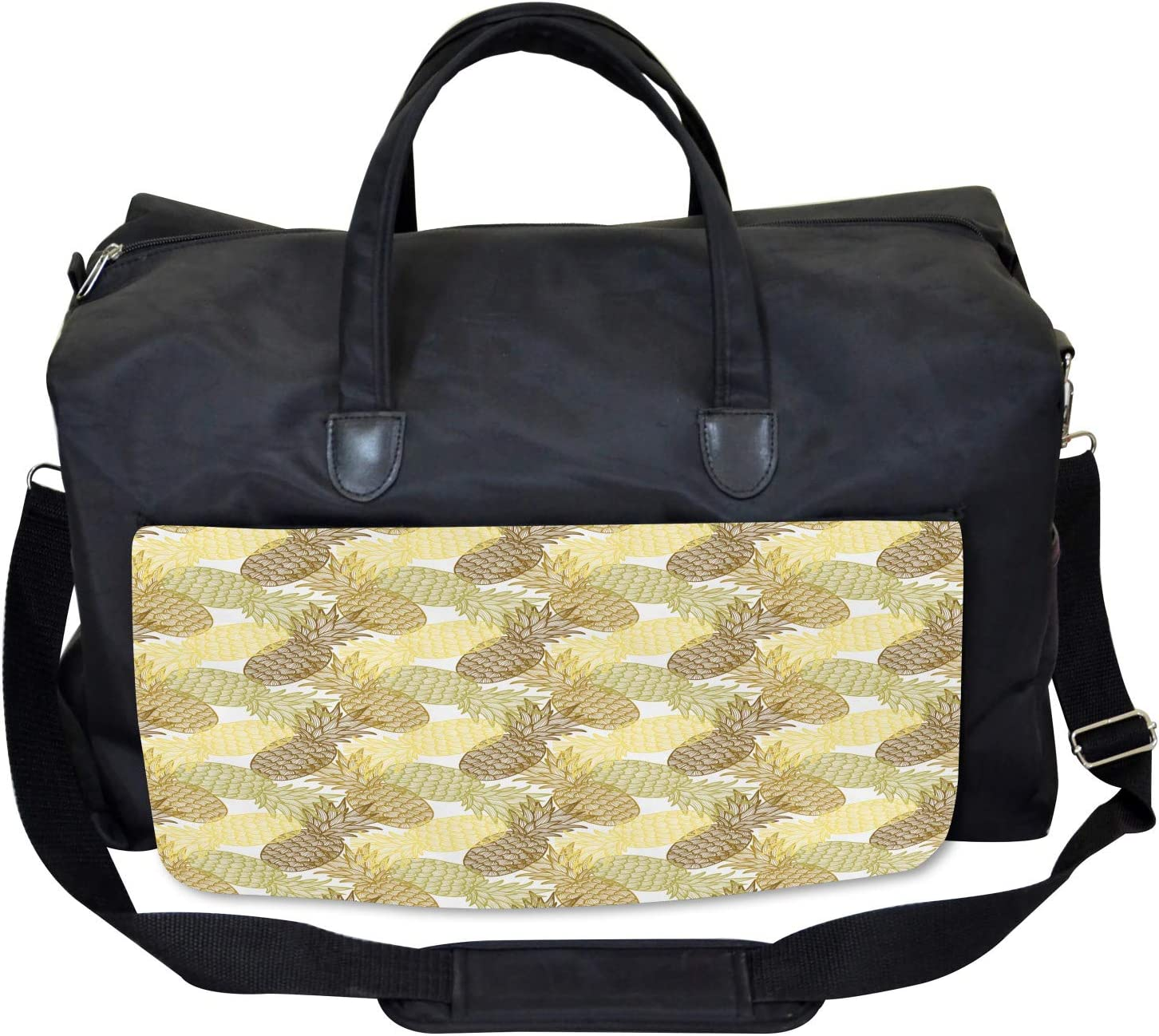 Ambesonne Tropical Gym Bag Curving Exotic Tropical Large Weekender Carry-on
