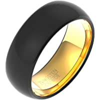 Men Unique Cool Ring,Tungsten Steel Black Gold 8MM Male Fashion Jewelry Ring