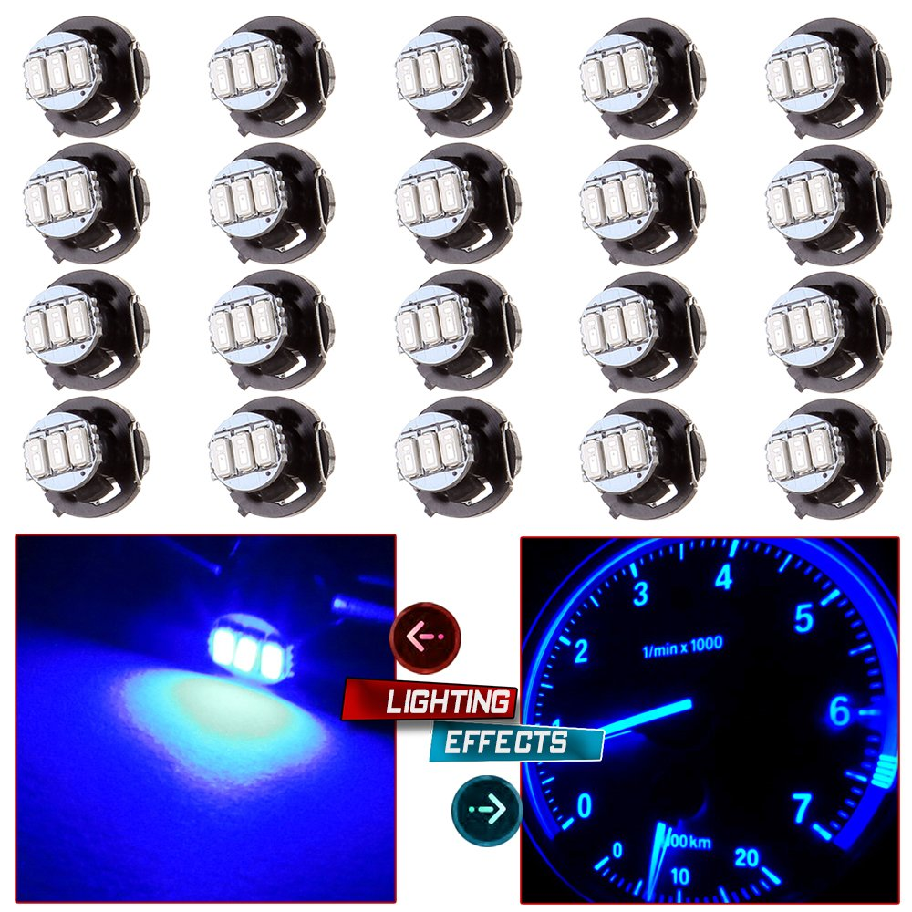 cciyu 20 Pack Blue T4/T4.2 Neo Wedge 3LED Climate Control Light Bulbs Replacement fit for 1996-1999 Dodge Caravan 1998-2001 Acura Integra 2004-2011 Chevrolet Colorado by cciyu