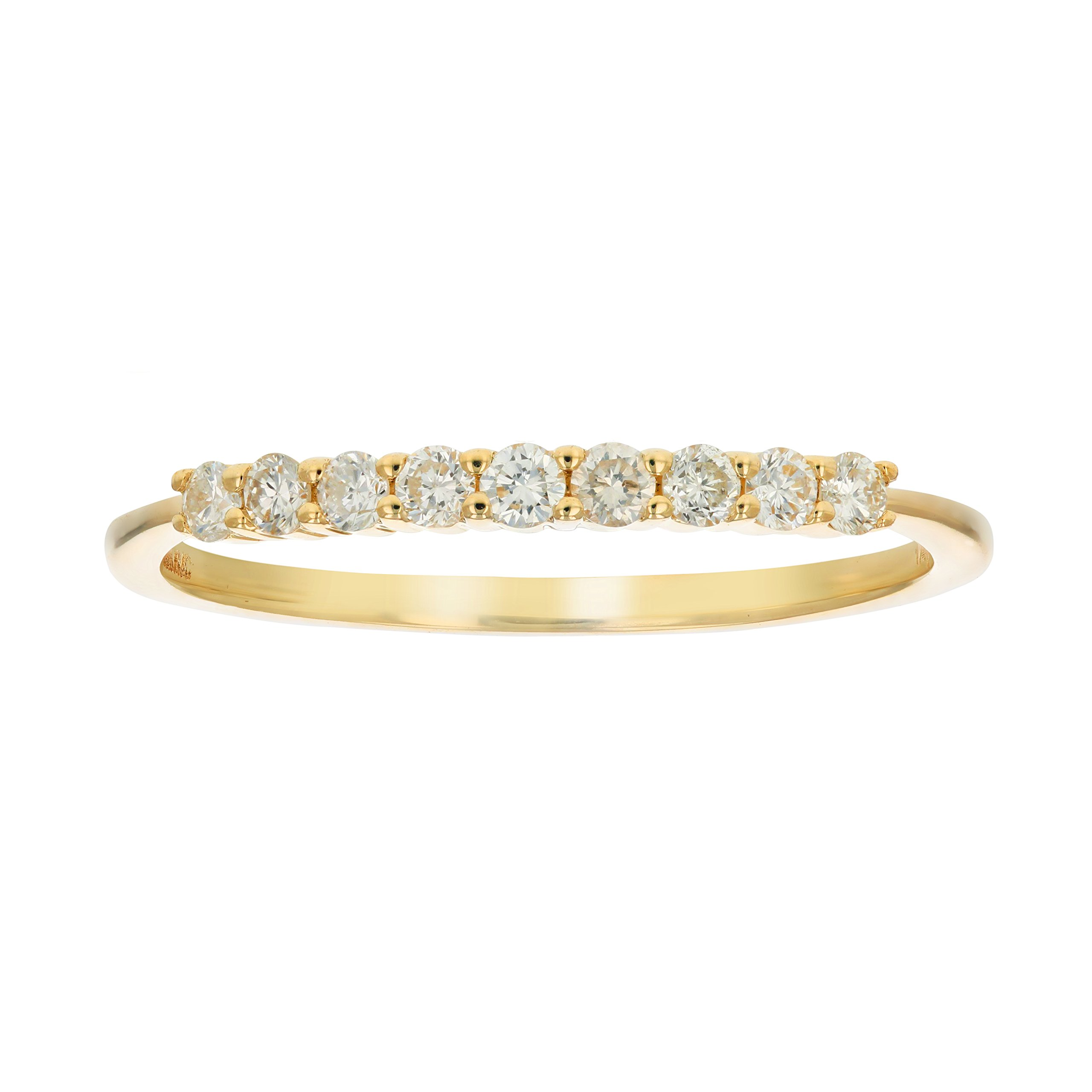 1/4 ctw Petite Diamond Wedding Band in 10K Yellow Gold Size 7