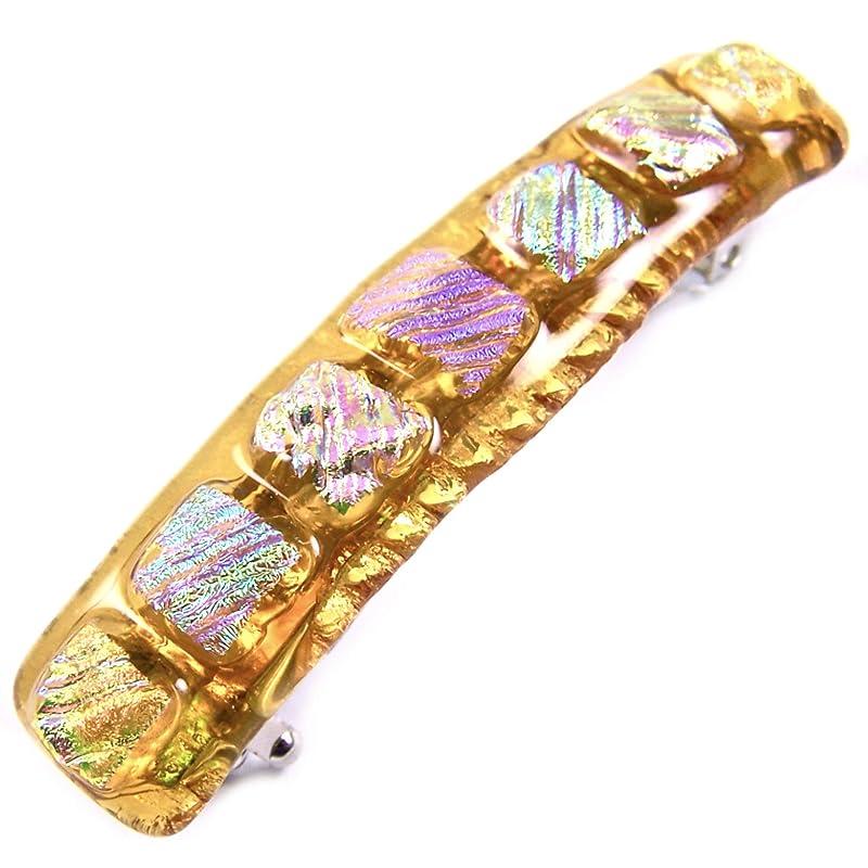 Mini Gold Fused Glass Barrette Tiny Gold Dichroic Barrette Extra Small Gold Copper Dichroic Glass Barrette MXSBCXS Fine Hair Barrette
