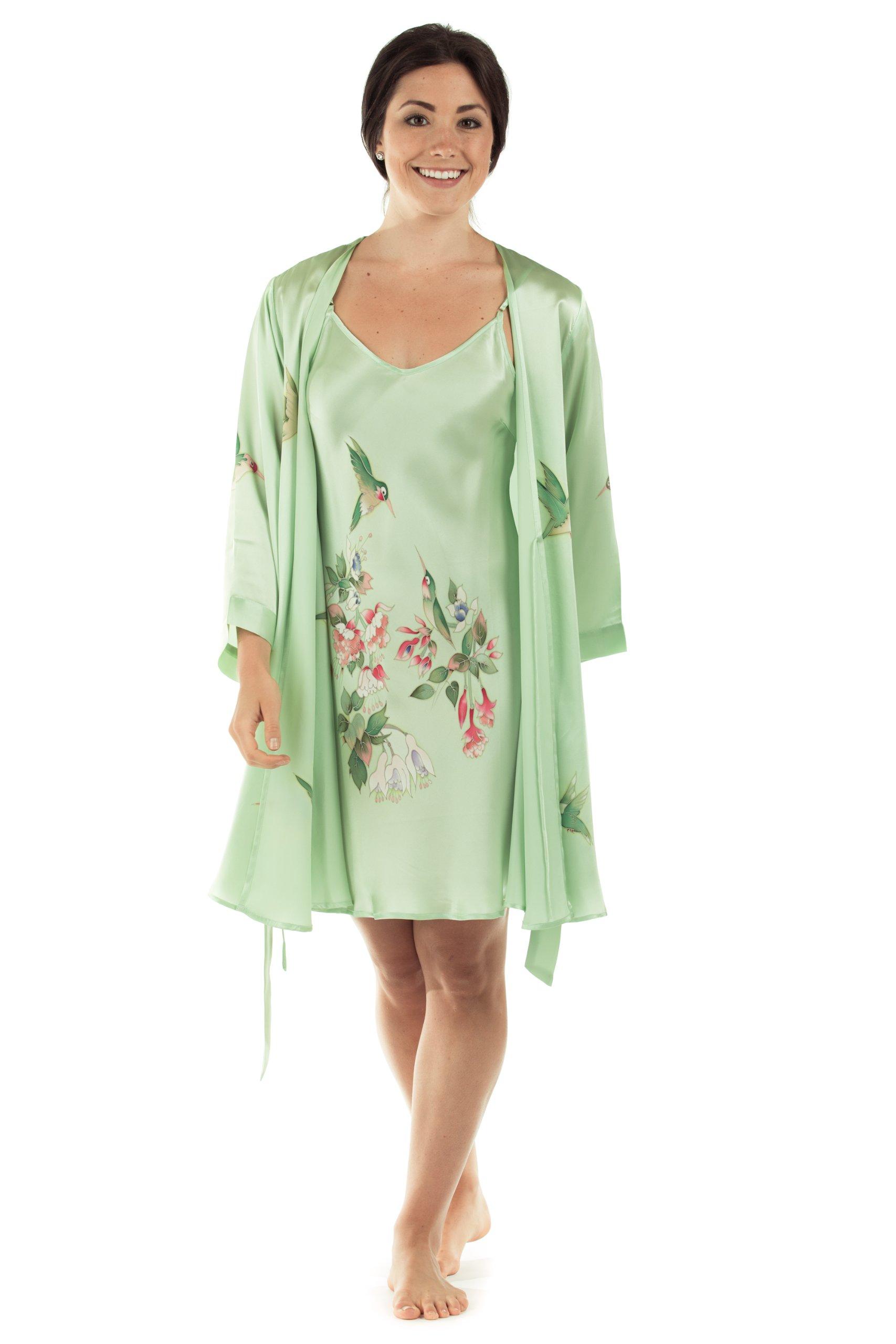 Women's Silk Nightgown Robe Set - Elegant Gifts by TexereSilk (The Hummingbirds, Celadon Green, Medium) Beautiful Sleepwear Set for Mom Sister Wife Girlfriend Daughter Fiancee WS0602-CDN-M