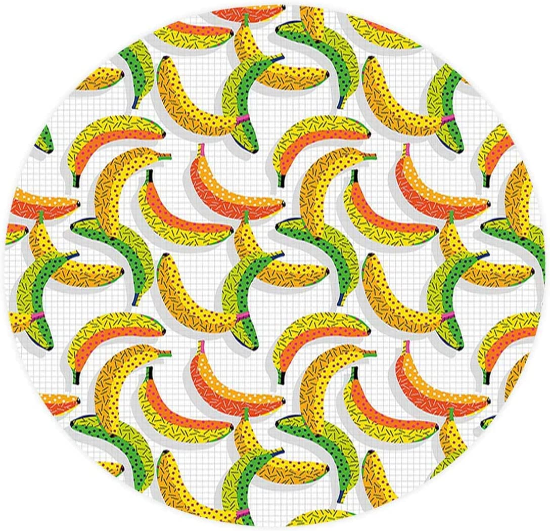 SoSung The Home Elastic Edged Polyester Fitted Table Cover Fruits Retro Pop Art Trippy Banana Minimalist 80s,Fits up Diameter 50