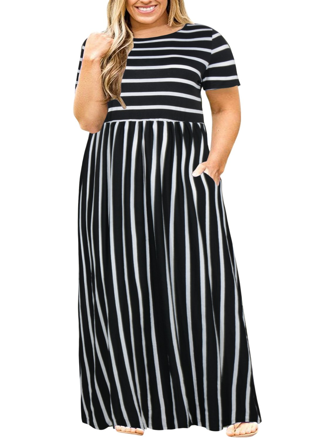 Nemidor Women Short Sleeve Loose Plain Casual Plus Size Long Maxi Dress with Pockets (Black Stripe, 16W)