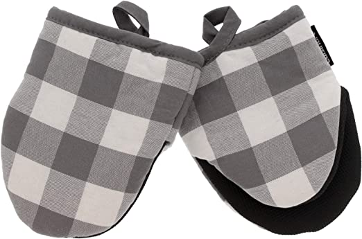 2 Pack Hanging Loop Drizzle Grey Heat Resistant Non-Slip Grip Little Oven Gloves for Cooking Cuisinart Silicone Mini Oven Mitts Ideal for Handling Hot Kitchen//Bakeware Items 7 x 5 Inches