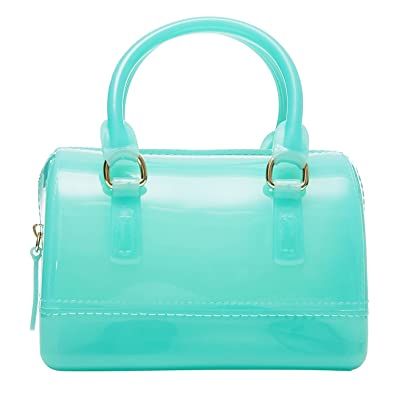 0fcb18c10e Top Handle Silicone Handbag Jelly Purse With Optional Shoulder Strap -  Teal  Handbags  Amazon.com