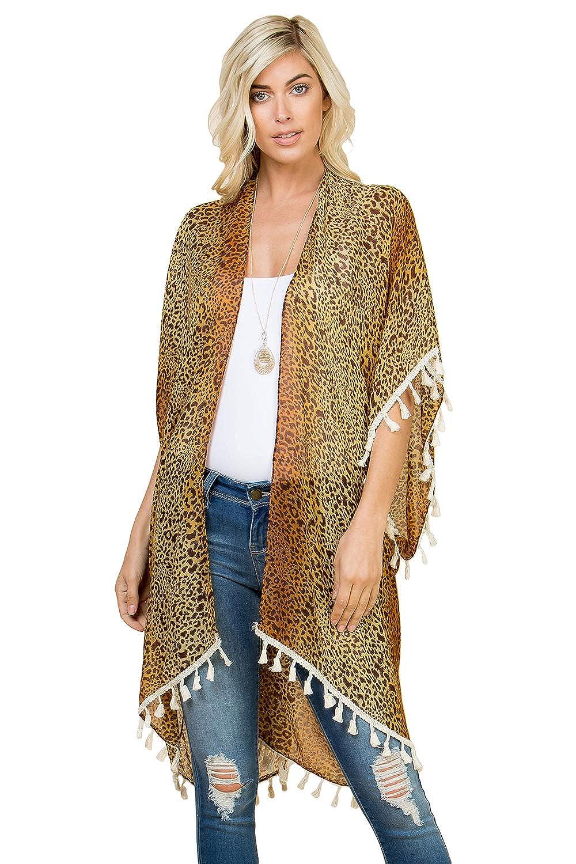 9088fddd34 Sheer Beachwear Bathing Swimsuit Bikini Cover Up - Drape Kaftan Shawl Leopard  Animal Print Open Kimono Cardigan