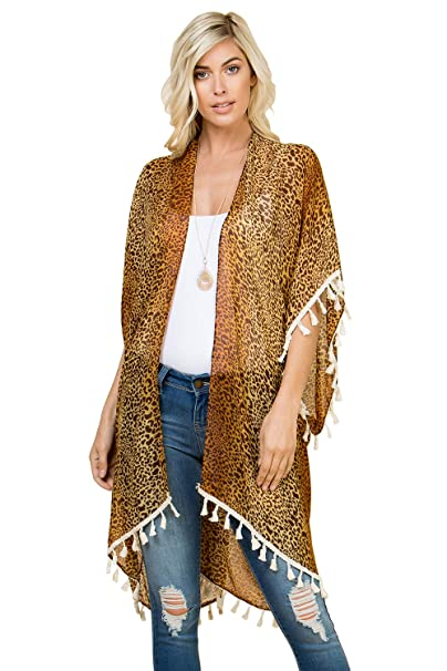 40db1f5637 Sheer Beachwear Bathing Swimsuit Bikini Cover Up - Drape Kaftan Shawl  Leopard Animal Print Open Kimono