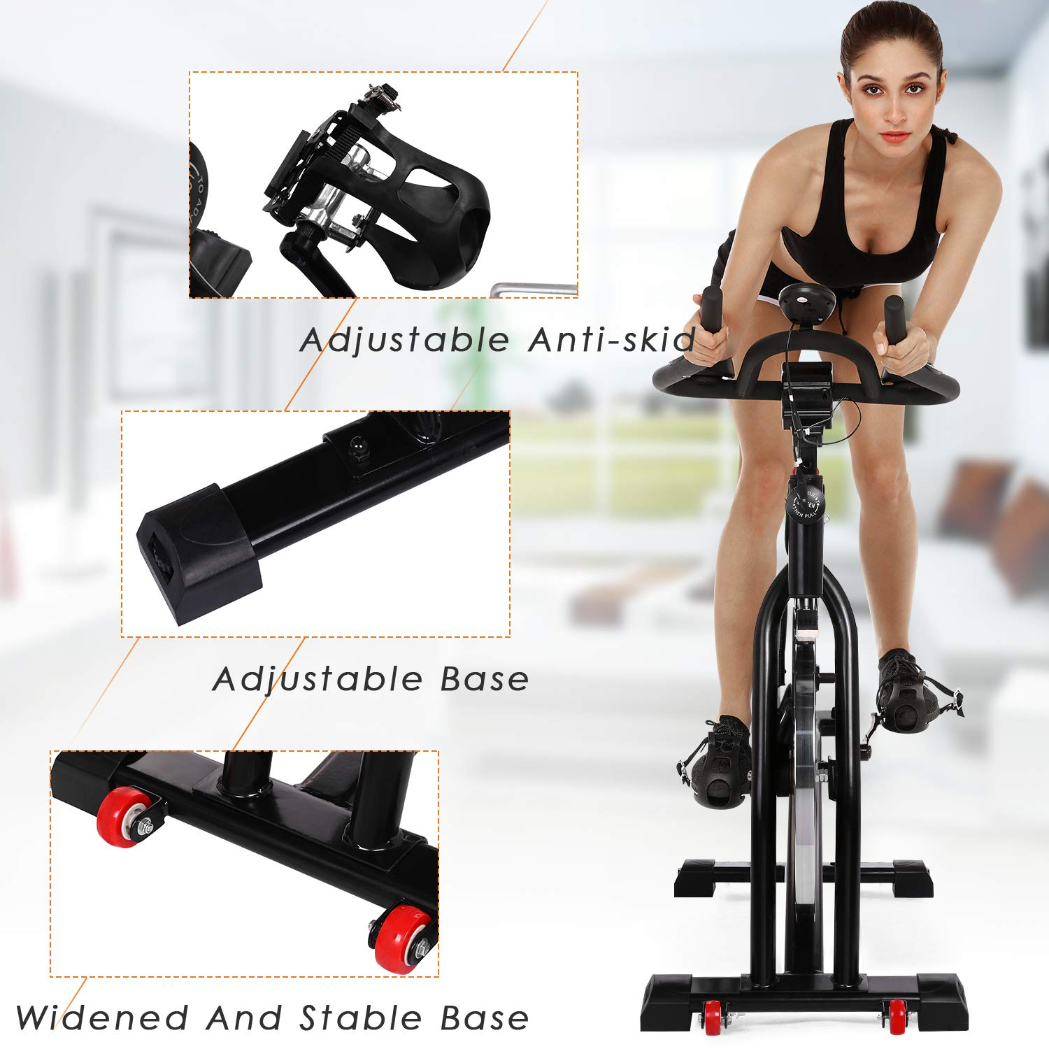 ANCHEER Stationary Bike, 40 LBS Flywheel Belt Drive Indoor Cycling Exercise Bike with Pulse, Elbow Tray (Model: ANCHEER-A5001) (Black) by ANCHEER (Image #6)