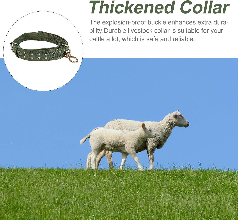 YARNOW Bovini Collare di Tela Mucca Neck Strap Ispessito Regolabile Bestiame Trazione Collana per Pony Capra Pecora Vitello Cane Cavallo Verde