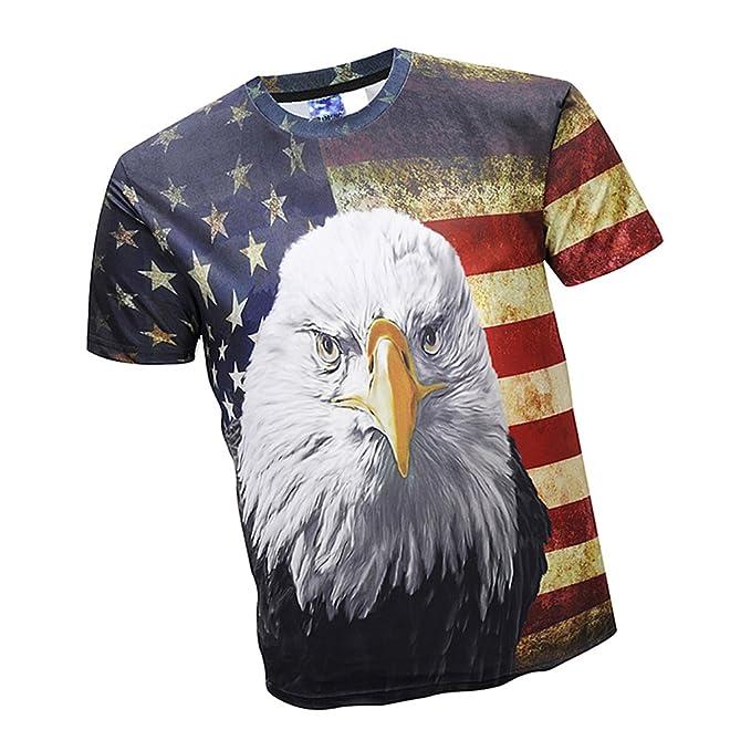 Baoblaze Camisa de Bandera Americana Estilo Estampado De Moda Poliéster Suave Cómodo Fresco Fiestas Clubes Tiendas