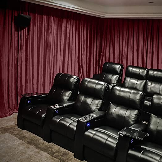Velvet Blackout Lined Home Movie Theater Curtain Drapes Panel