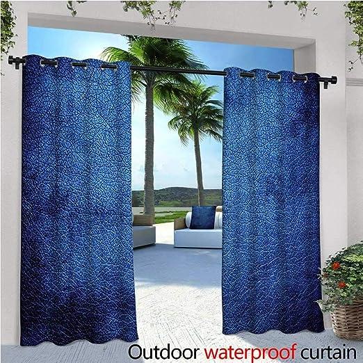 Cortina de privacidad para exteriores azul marino para pérgola profunda en el océano Majestic temática azul oscuro diseño de colores con reflejos imagen aislante térmico impermeable Drape para balcón azul oscuro: Amazon.es: