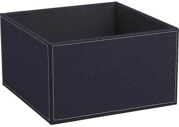 navy felt open storage box | CB2