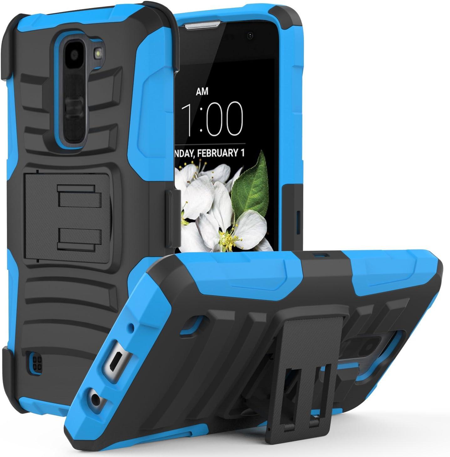 MoKo LG K7 Funda - Cuerpo de la Resistente Funda Giratoria con Clip de la Correa Resistente Choque de Doble Capa para LG K7 5.0 Pulgadas Smartphone 2015 Release, Azul: Amazon.es: Electrónica