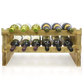 Amazoncom Sorbus 2 Tier Stackable Bamboo Wine Rack Classic Style