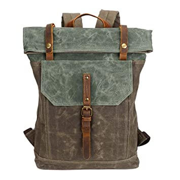 80685951ea1f7 Neuleben Rucksack Daypack Kurierrucksack aus Canvas Vintage Rucksäcke  Wasserabweisend für Schule Reise Outdoor Damen Herren (