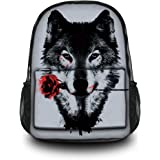 Fashion Unisex Canvas Rucksack Vintage Computer Laptop Backpack School Travel Shoulder Backpack Bag (Wolf with Rose) CPB-60