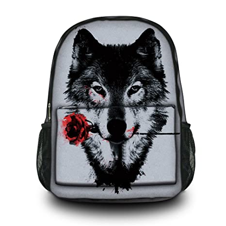 36a15d26884d Image Unavailable. Image not available for. Color  Fashion Wolf Unisex  Canvas Rucksack ...