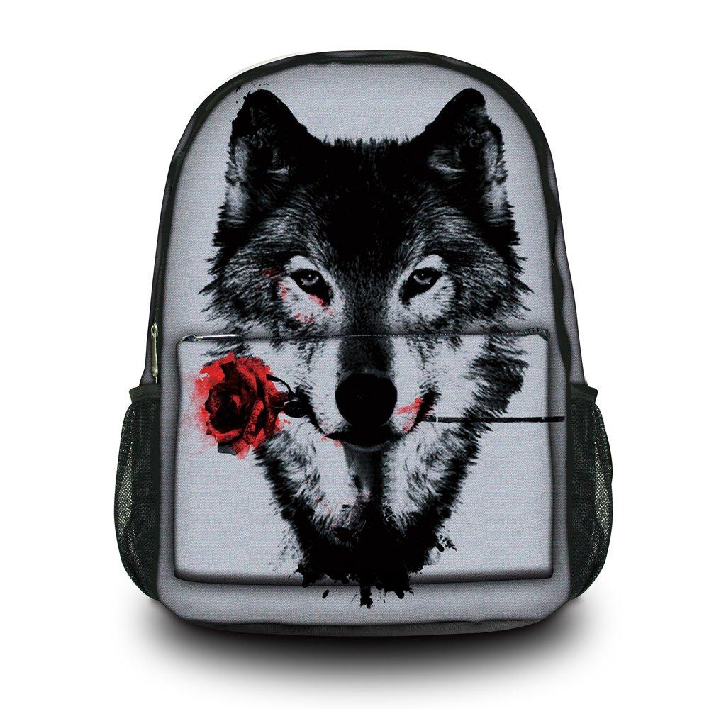 HST Fashion Wolf Unisex Canvas Rucksack Vintage Computer Laptop Backpack School Backpack Shoulder Bag (Wolf with Rose) CPB-60