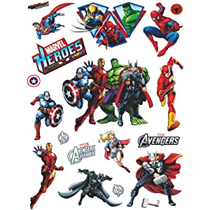 FANGLIAN DIY Removable Marvel Wall Stickers Avengers Wall Decals, Cartoon 3D The Superhero Wall Decor for Boys Room Living Room (17.8inchex23.7inche)