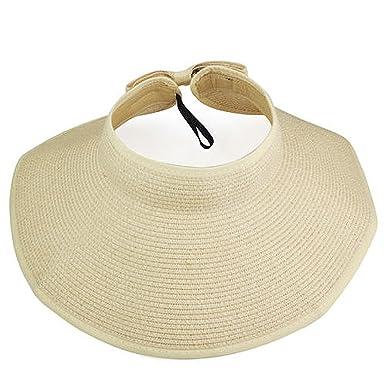 64cd7071 SWT Women Ladies Chic Wide Large Brim Summer Beach Sun Visor Foldable Straw  Hat (Beige): Amazon.co.uk: Clothing
