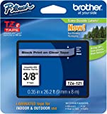 "Genuine Brother 3/8"" (9mm) Black on Clear TZe P-touch Tape for Brother PT-1890, PT1890 Label Maker"