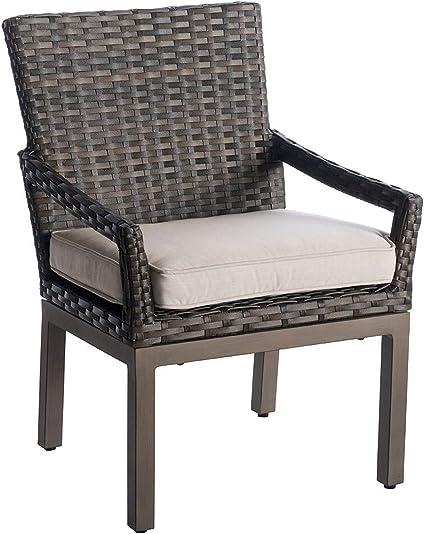Amazon Com 34 Brown Wicker Outdoor Dining Chair Pack Of 2 Garden Outdoor