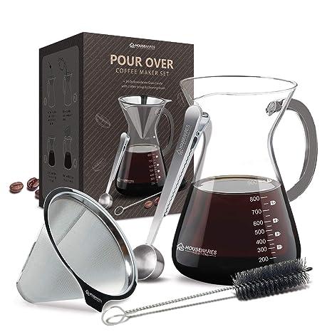 Amazon.com: Juego de cafetera para verter, jarra de cristal ...