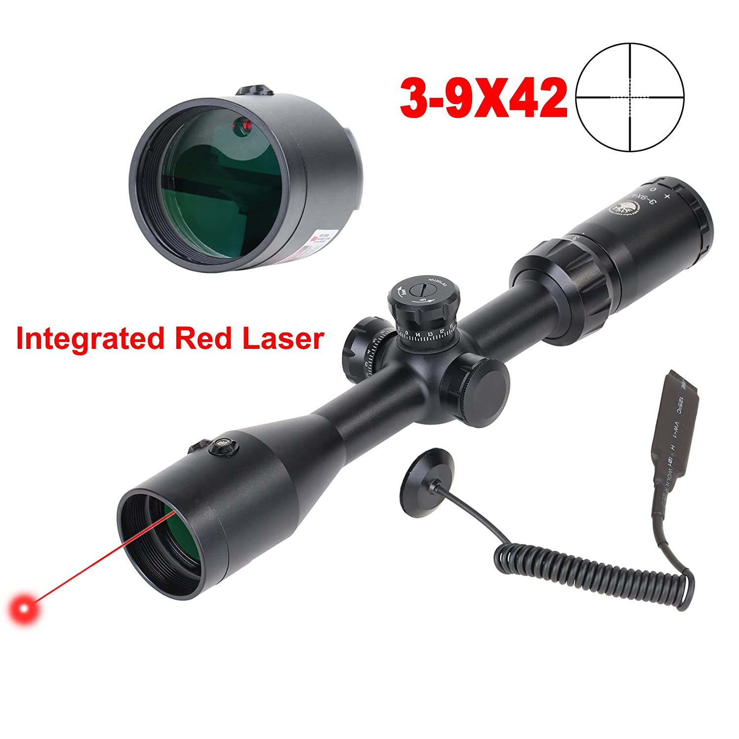 GOHIKING 3-9×42 Hunting Rifle Scope with Integrated Red Sight and P4 Sniper Reticle