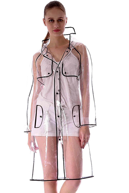 KISSFEEL Womens Transparent Raincoat Runway Style Clear Fashion Rain Coat