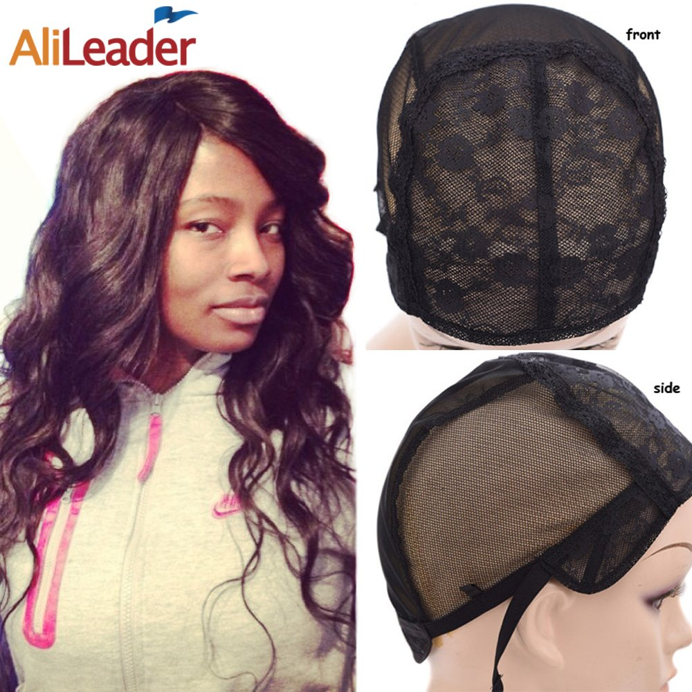 Black Double Lace Wig Caps For Making Wigs Hair Net with Adjustable Straps Swiss Lace Medium Size from AliLeader by AliLeader