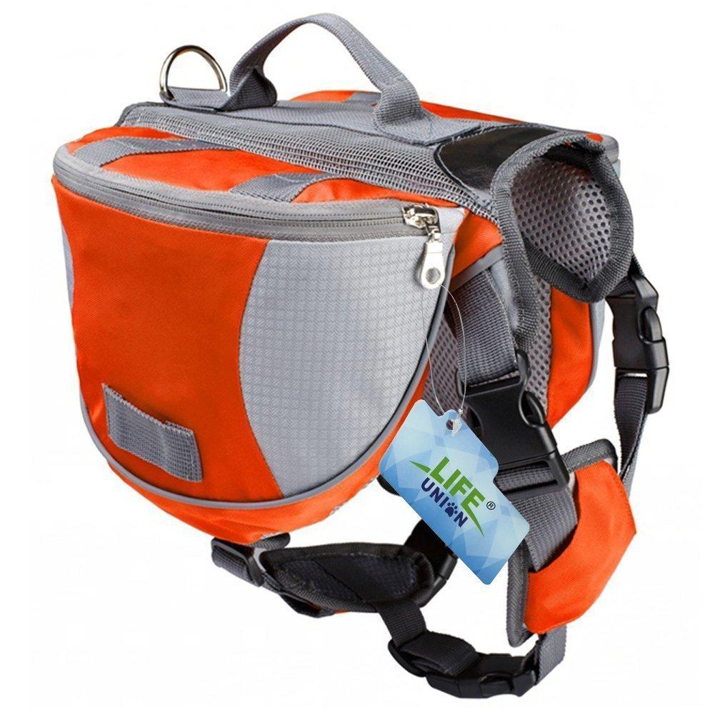 Lifeunion Saddle Bag Backpack for Dog, Tripper Hound Bag Travel Hiking Camping (Orange + Grey, M)