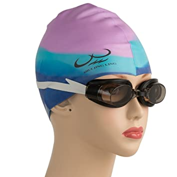 71fbb5e7ff23 ShuiJingLing® Silicone Cap Waterproof Adult Swimming Cap Keeps Hair Dry  Best for Men (Male) and Women (Ladies) - 100% Soft Silicone Material -  Lifetime ...