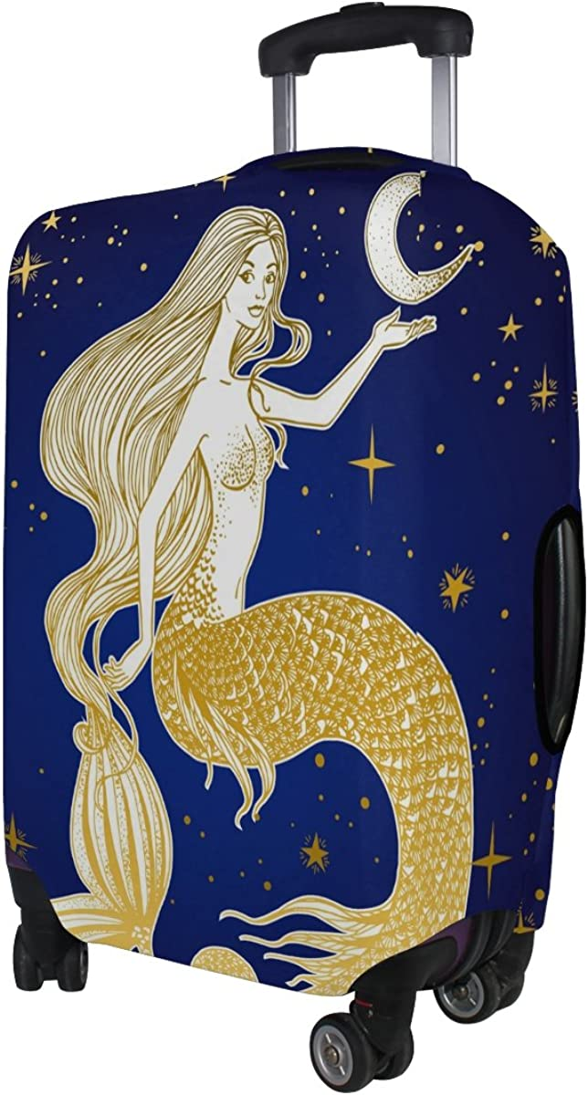 LAVOVO Mermaid With Moon In Her Hand Luggage Cover Suitcase Protector Carry On Covers