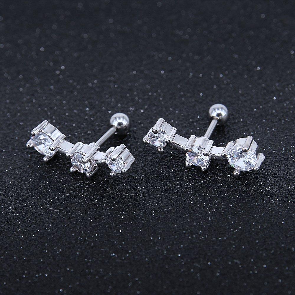 16g Triple Cubic Zirconia Stud Earrings 316L Stainless Steel Ear Helix Conch Tragus Cartilage Earring