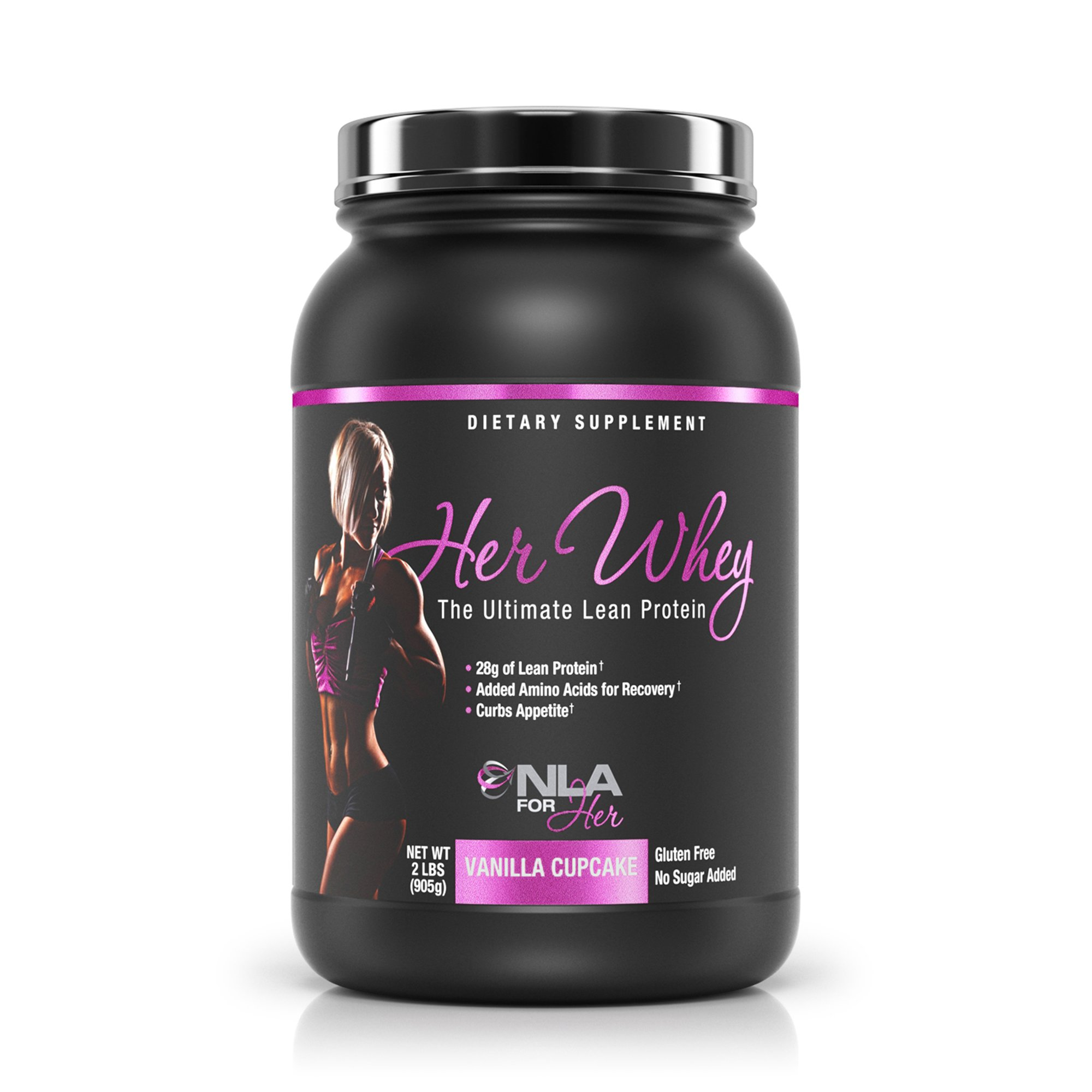 NLA for Her - Her Whey - Ultimate Lean Whey Isolate Protein - 28g of Lean Protein, Added Amino Acids for Recovery, Builds Muscle, & Helps Curb Appetite - Vanilla Cupcake - 2 Lb Tub
